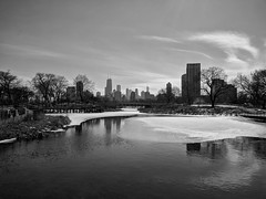 Skyline (ancientlives) Tags: chicsgo illinois il usa lincolnpark lincolnparkzoo downtown vista view landscape southpond ice snow water pond natureboardwalk walking mono monochrome blackandwhite bw february 2019 friday winter
