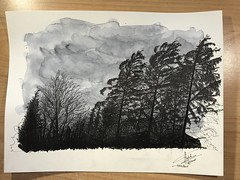 Wind storm (Claudio Nichele (@jihan65 on Twitter)) Tags: storm wind vent tempête nuages clouds tree arbres sapins pinetree aquarelle watercolor watercolour drawing dessin sketch