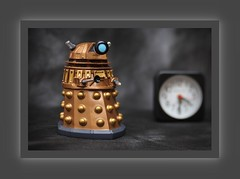 Funko Pop Dr Who steam punk robot (N.the.Kudzu) Tags: tabletop toy funkopop drwho steampunk robot small clock canondslr lensbabyedge50 photoscape frame home