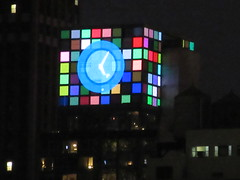 2018 Christmas Eve Virtual Clock Tower NYC 8377 (Brechtbug) Tags: 2018 christmas eve virtual clock tower ny times building night rooftop sign nyc 12242018 new york city green blue tile art deco buildings clouds lights evening publishing scape skyline mcgrawhill nite