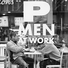 Men at work (mkc609) Tags: bw film kodak nikonf100 street streetphotography blackandwhite blackwhite urban candid nyc newyork newyorkcity cafe break oldschool
