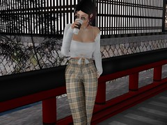 coffee break (Tympany) Tags: osmia lazybones wasabipills anaposes coffee kunglers plaid knits sweater pants secondlife sunglasses shades zoom enfersombre ysys equal10 sl mesh bento fashion blog lelutka chloe maitreya
