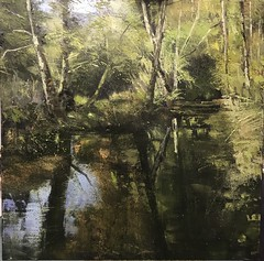 O Thou Whispering Wanderer II 100 x 100 cm oil on canvas - commission sold (www.sandragraham.co.uk) Tags: oil oilpainting oiloncanvas original painting art artist artists contemporary british landscape canvas river burn stream brook dowles worcestershire trees forest