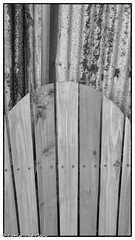 Chair and Wall (lorinleecary) Tags: chair california monochrome curves cambria wood blackandwhite lines corrugatediron