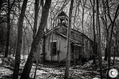 IMG_8377logo (Annie Chartrand) Tags: schoolhouse illinois calhouncounty abandoned rural ruraldecay monochrome bw blackandwhite winter snow forest woods