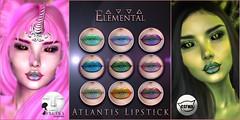 - ELEMENTAL - 'Atlantis' lipstick Advert (elemental.business.sl) Tags: groupgifts groupgift elemental catwa lelutka makeup applier lipstick fantasy mermaid roleplay rp witch pagan orc dragon