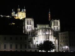 Cathedral and Fourvière lit at night, Lyon, France (Paul McClure DC) Tags: lyon france july2017 auvergnerhônealpes historic architecture night vieuxlyon fourvière cathedral church