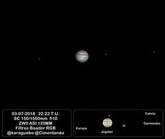 Júpiter - 2018-07-03 - 22:22 T.U. con ANOTACIONES (karaguebo) Tags: jupiter asi120mm astrophoto astro astronomy bresser zwo astrofotografía astronomía celestron astrophotography