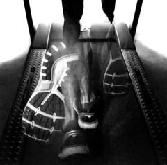Treadmill Multiple Exposure (WeatherlyKC) Tags: running treadmill shoes overlay multipleexposure run blackandwhite blackwhite