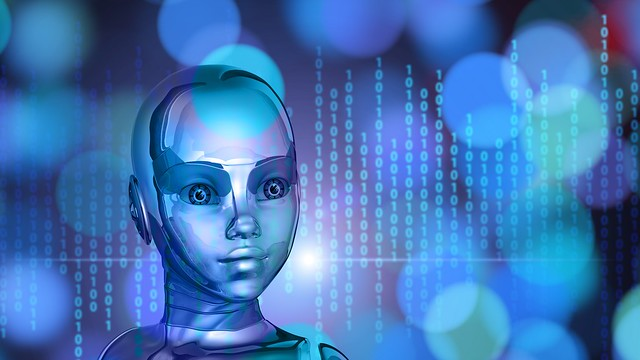 Обои робот, киборг, бинарный код, лицо, металл картинки на рабочий стол, фото скачать бесплатно