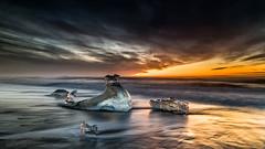 Diamond Bergs (petebristo) Tags: iceland ice seascape waterscape slowshutter sunrise