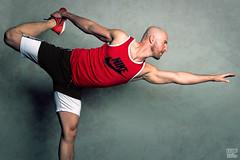 Dandayamana Dhanurasana - Standing Bow (Tom 09) (WF portraits) Tags: svk man male model portrait studio yoga standing bow muscles fitness gym athlete beard legs arms