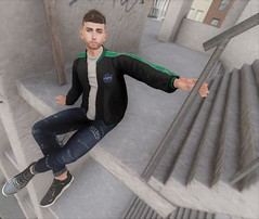 Living On The Edge (EnviouSLAY) Tags: parkinggaragescene parking garage parkinggarage scene secondlifefashion secondlifephotography ledge grafitti jeans denim blue jacket bomber black graphics sneakers brunette modulus complex versov bleich newreleases new releases tmd themensdepartment the mens department mensmonthly mensevent mensfair mensfashion monthlymen monthlyfashion monthlyfair monthlyevent monthly men event fair fashion pale male gay lgbt blogger secondlife second life photography
