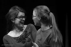 Friends. (Petoskey Drones) Tags: bw women amies lunettes smiles talking