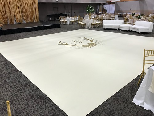 "White Vinyl Wrapped Dance Floor with Gold Monogram • <a style=""font-size:0.8em;"" href=""http://www.flickr.com/photos/81396050@N06/40498611083/"" target=""_blank"">View on Flickr</a>"