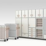 医療・福祉施設用ファニチャーシステム(収納キャビネットおよび搬送カート)の写真