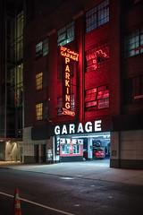 New York Neon (WayneG58) Tags: neon new york handheld red glow garage parking street nightshot night architecture newyork manhatten reflections