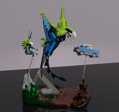 Swooping Evil (L-DI-EGO) Tags: lego harry potter wizarding world toy fantastic beast building ideas movie moc vignette film car microscale ford