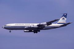 N8416 Gatwick 21-4-1984 (Plane Buddy) Tags: n8416 707 ata american trans air gatwick lgw