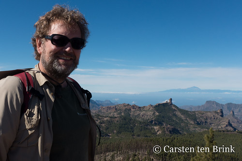 In front of two icons - Roque Nublo and Tenerife's El Teide