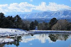 Rustic Reflections (Patricia Henschen) Tags: usairforceacademy coloradosprings colorado kettlelakes clouds afa mountain mountains frontrange pikespeak park autumn snow pond lake reflection rampartrange