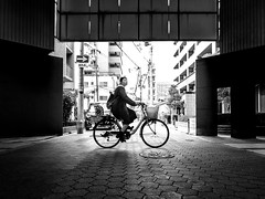 On the journey to enlightenment (cresting_wave) Tags: iphoneography mobileography iphonephotography mobilephotography streetphotography blackwhite monochrome iphonex procamera snapseed bicycle woman riding silhouette