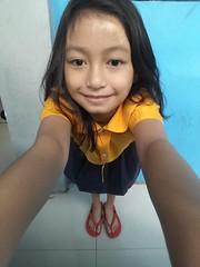 Selfie from up to down (ghostgirl_Annver) Tags: asia asian girl annver teen preteen child kid daughter sister family portrait selfie school uniform yellow blue