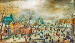 Winter Landscape with Ice Skaters, variant (sjrankin) Tags: 23december2018 edited museum rijksmuseum art fineart historic winter seasonal c1608 skaters winterscene clouds cold hendrickavercamp