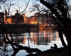Paseando por la ribera del Ebro. Strolling along the riverbank (marisabosqued) Tags: río river ribera riverbank ebro zaragoza noche nocturna night reflejos reflections tamronafsp1750mm snapseed