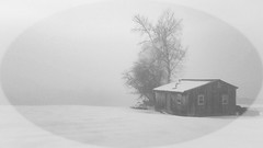 Fog at dusk 20190215_173651 (LarryJ47) Tags: samsung s7 fog dusk outbuilding snow winter bw blackandwhite black white vignette