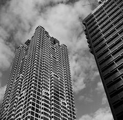 Peachtree St. NW & Baker St. NW (John Bense) Tags: atlanta city street architecture building buildings sky skyscraper georgia film mediumformat blackandwhite monochrome analog