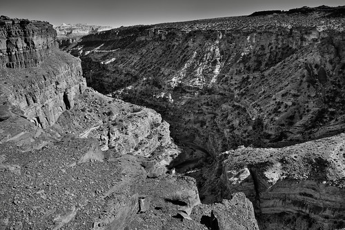 Canyon Walls of the Goosenecks Caught in Shadow and Light (Black & White, Capitol Reef National Park)