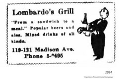 1934  Lombardo's Grill Restaurant   119-121 madison (albany group archive) Tags: 1930s little italy italian old albany ny vintage photos picture photo photograph history historic historical