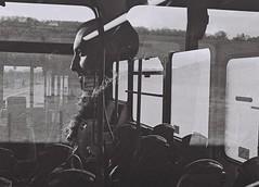 Bus Face, Black Isle, April 2016 (Mano Green) Tags: face bus portrait double exposure transport light window black isle scotland uk april 2016 canon eos 300 40mm lens ilford xp2 super 400 35mm film spring