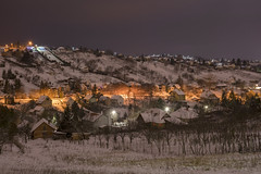 I'm back to Flickr!   Snowy hill in night (makardavid8) Tags: night landscape nikon d3400 1855 light brown lamp snow hill