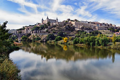 Toledo Reflections (Jocelyn777) Tags: landscapes cityscapes view river tajoriver reflections waterreflections clouds sky historictowns monuments architecture toledo castillalamancha spain travel
