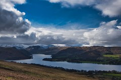 """""""Halo"""" (vincocamm) Tags: water lake tree mountains landsape clouds cloudy brown blue white lakedistrict moody windy nikon d5500 english england snow snowy match winter wintry cumbria nationalpark halo light circle helvellyn fells rugged heavenly"""