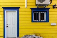 Yellow & Blue (Karen_Chappell) Tags: yellow house home blue window door trim paint painted wood wooden city urban rowhouse stjohns downtown architecture clapboard white jellybeanrow canada atlanticcanada avalonpeninsula eastcoast newfoundland nfld building colourful colours colour color
