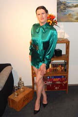 Lost My Leggings (Rikky_Satin) Tags: silk satin pussy bow blouse dress pumps crossdresser transvestite tgirl tgurl gurl