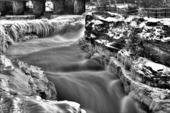 Hogs Back Falls (G. Monk) Tags: winter water river ottawa rideauriver rideaucanal ice snow flowingwater cold canada ontario rocks blackandwhite bw longexposure neutraldensity ndfilter