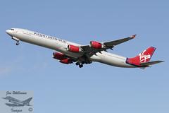 Virgin Atlantic Airbus A340-642 (jonny4x4uk) Tags: airbus boeing dreamliner a350 a320 a340 a380 a321 a319 aerlingus virginatlantic americanairlines b787 b747 b737 b777 a330 b757 landor britishairways ba speedbird deltaairlines oneworld retro lot unitedairlines airnewzealand aeroflot max8 cathaypacific thaiairlines airmalta qantas turkishairlines aircanada boac mea middleeastairways aegean srilankan alitalia neo bea airserbia airindia malaysiaairlines dhl cargo jetairways ana singaporeairlines saudia airchina airastrana gulfair koreanair airbridgecargo abc tunisair bulgarianairlines pia pakistaninternationalairlines qatar freighter airfreight heathrow lhr london egll airport avgeet 27r 27l 09r