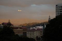 Jetstar over Wellington railway station (kattabrained) Tags: jetstar airplane sunset city