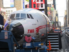 2019 Celebration of Retro TWA Hotel - Wingless Plane Times Square 4516 (Brechtbug) Tags: 2019 celebration retro twa hotel brooklyn wingless 1958 lockheed constellation connie l1649a starliner airplane visits times square before heading trans world airlines new yorks john f kennedy international airport known york anderson field commonly idlewild city march 23rd nyc 02232019