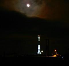 Dungeness Moon (robbierunciman) Tags: kent romney marsh england winter night lighthouse dungeness newlighthouse moon sky britannia