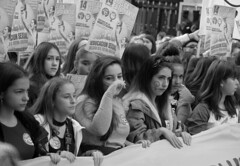 GirlCollective (11) (RICHARD OSTROM) Tags: monochrome madrid female face she girls woman dslr rally people power pride protest politics party protests parade poise portrait army masses spain 2018
