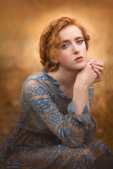 Blue and Gold ({jessica drossin}) Tags: jessicadrossin portrait woman face eyes redhair redhead lace blue curls canon wwwjessicadrossincom