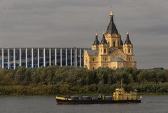 Cathedral of  Alexander Nevsky (Lyutik966) Tags: vessel river water volga nature temple building stadium city nizhnynovgorod transport church russiacathedralofalexandernevsky religion orthodoxy