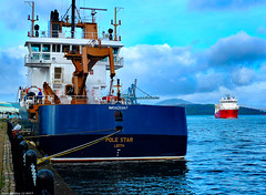 Scotland Greenock docked the Scottish lighthouse repair ship Pole Star and returning to port the heavy transport ship Elektron 4 March 2019 by Anne MacKay (Anne MacKay images of interest & wonder) Tags: scotland greenock dock docked scottish lighthouse repair ship pole star transport elektron sea 4 march 2019 picture by anne mackay