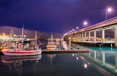 Tromso bridge (Rob McC) Tags: bridge infrastructure boats reflections night light tromso landscape waterfront still