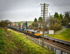 Gypsum unloading at Hotchley Hill (robmcrorie) Tags: 66708 class 66 gbrf gypsum east leake hotchley hill container unloading nikon d850 rushcliffe halt great central railway